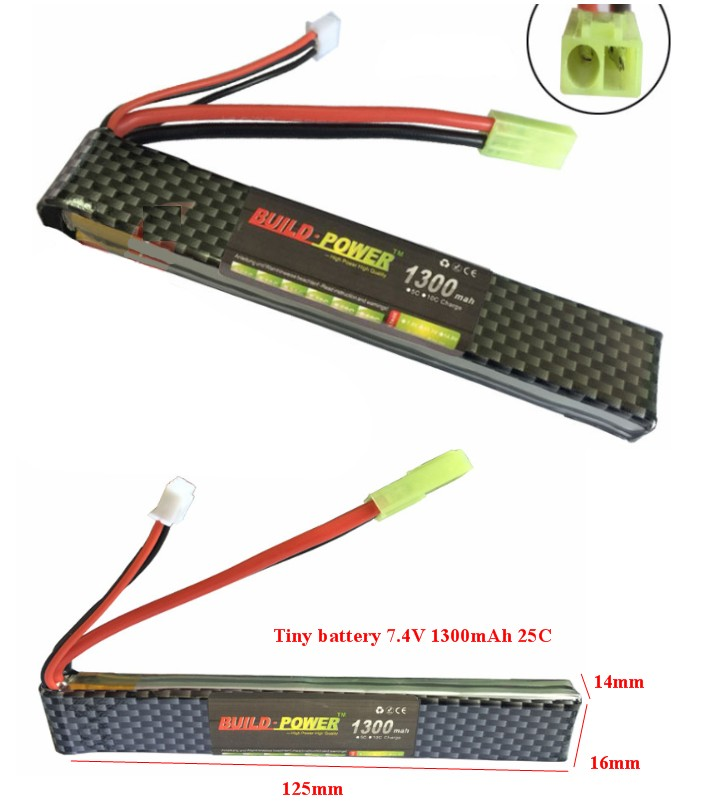 1300mAh 2S 7.4V 25C lipo battery small size