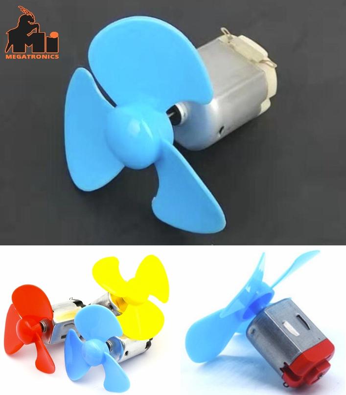 DIY 130 dc motor with 3 blade fan propeller leaf 1
