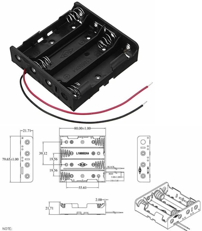 4x18650 14.8V Battery Holder Box Case+Leads+Spring
