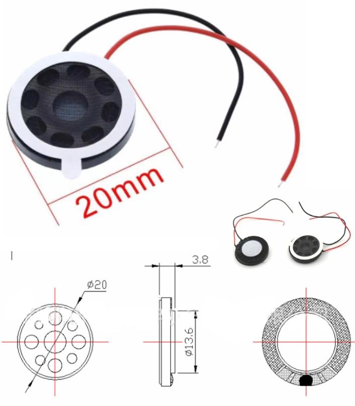 8ohm 1W 20mm Audio Speaker Stereo Loudspeaker