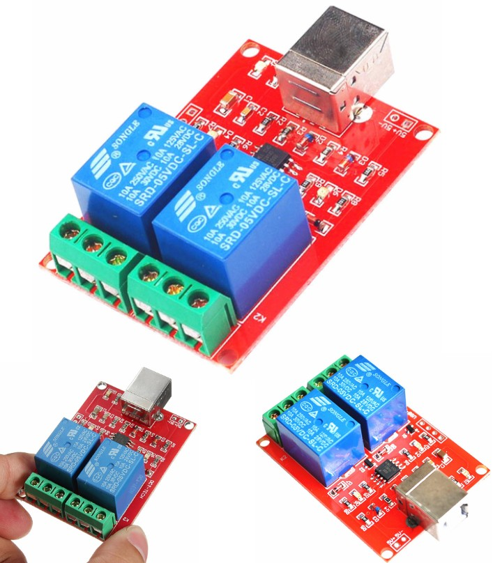Two Channel 5V Relay USB Control Switch Module