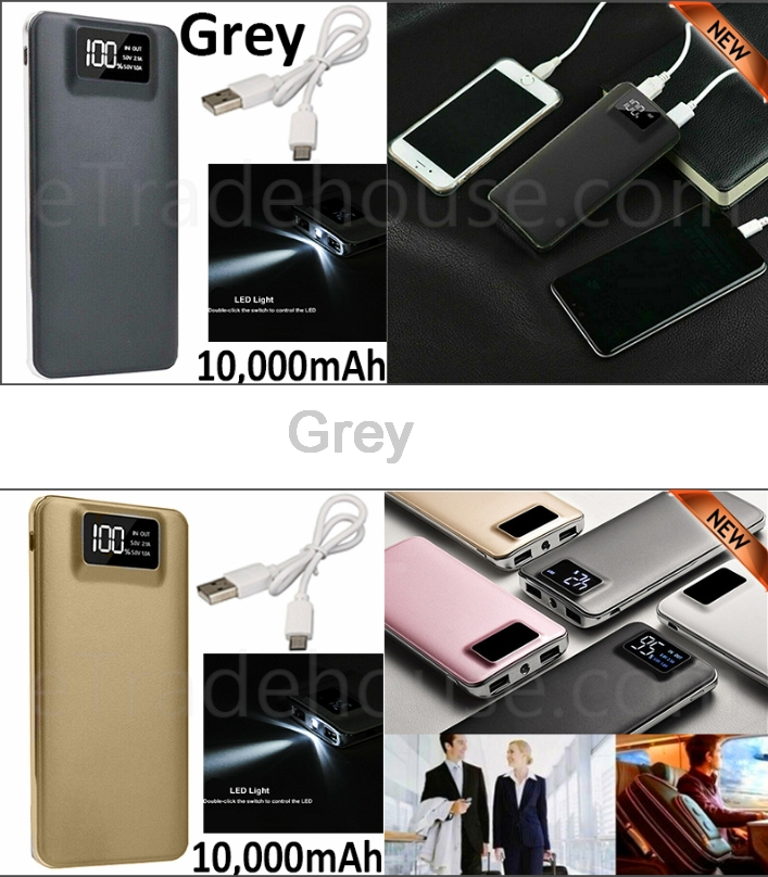 10,000mAH Dual USB Port Digital Power Bank Backup