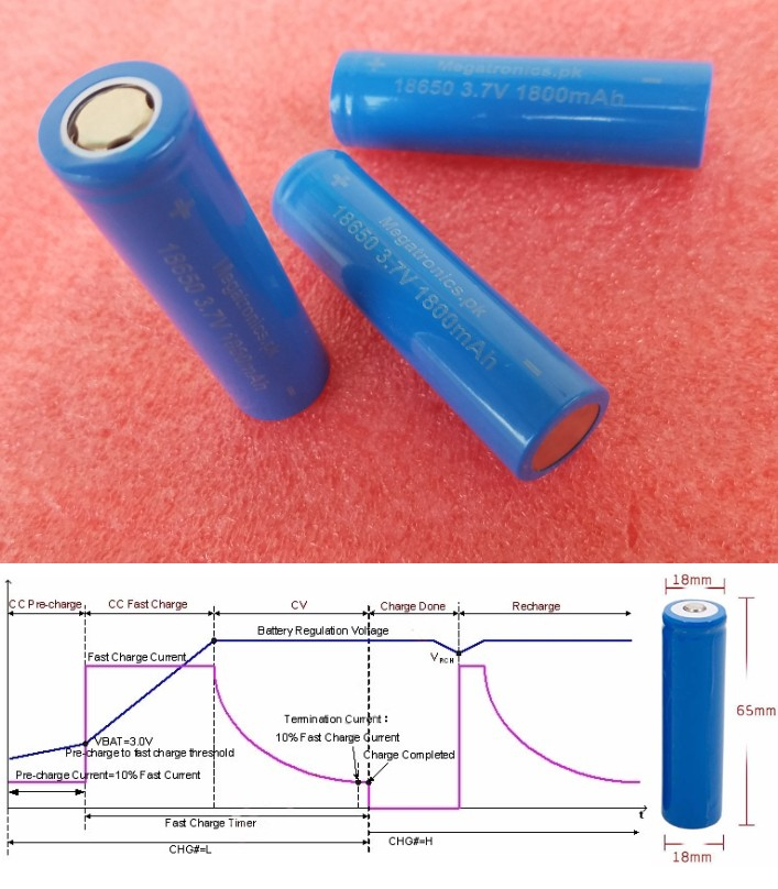 3.7V 1800mAh 18650 battery rechargeable Megatronic