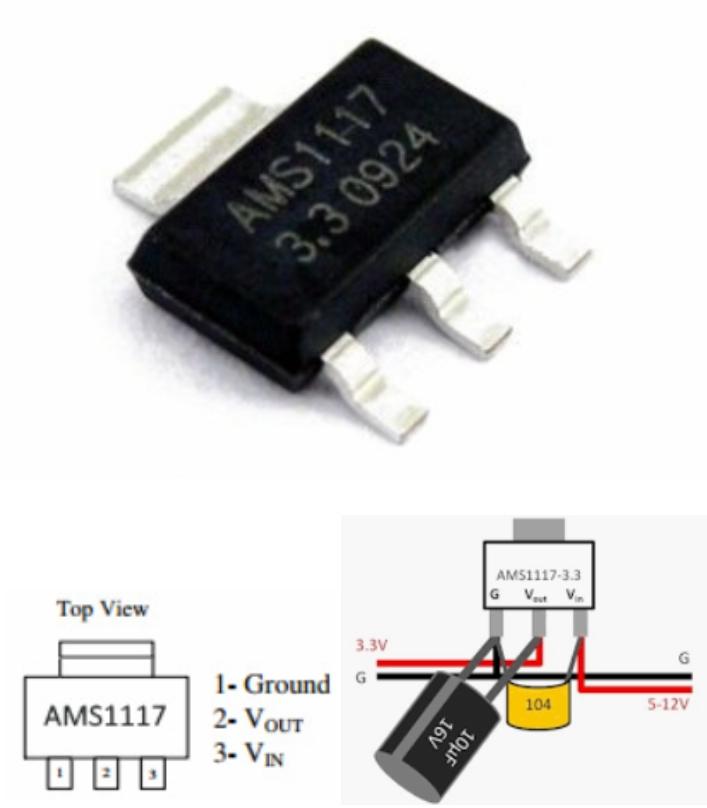 AMS1117-3.3V 3.3V Fixed voltage regulator SMD SOT2