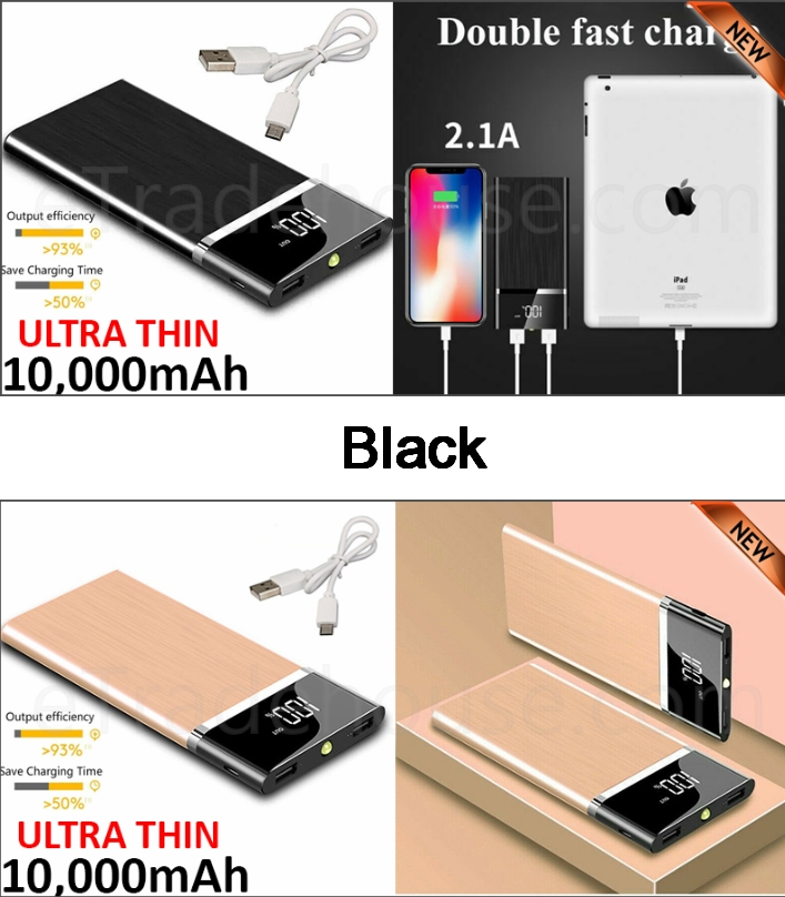 10,000mAH Dual USB Port Ultra-Thin Power Bank Back