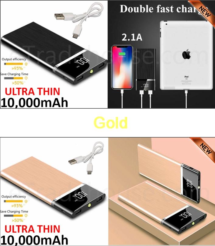 10,000mAH Dual USB Port Ultra-Thin Power Bank Back