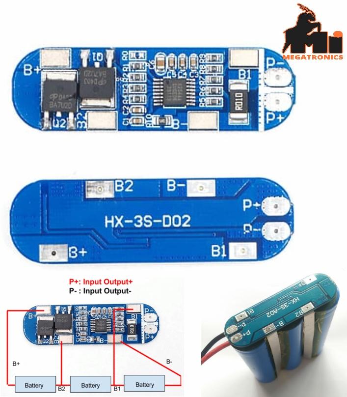 13A 3S 12V 18650 battery protection board BMS11.1V