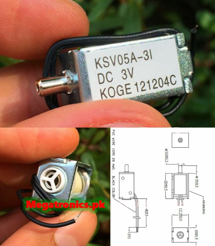 KSV05A DC 3V Mini Solenoid Valve Normally Open Air