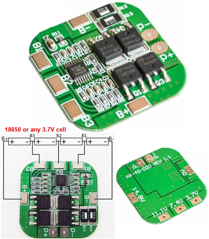 4S 18650 14.8V 10A BMS Battery protection board