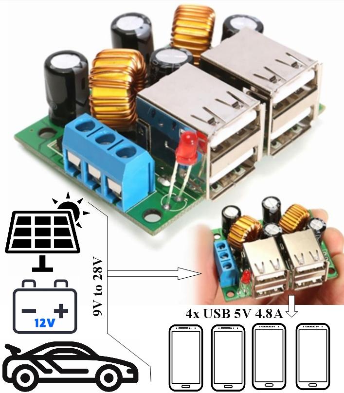4-USB 5V 4.8A Intelligent Step Down Power Module