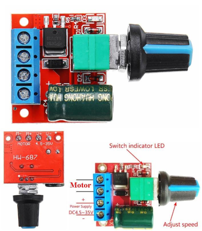 5A Mini DC Motor PWM Speed Controller Module