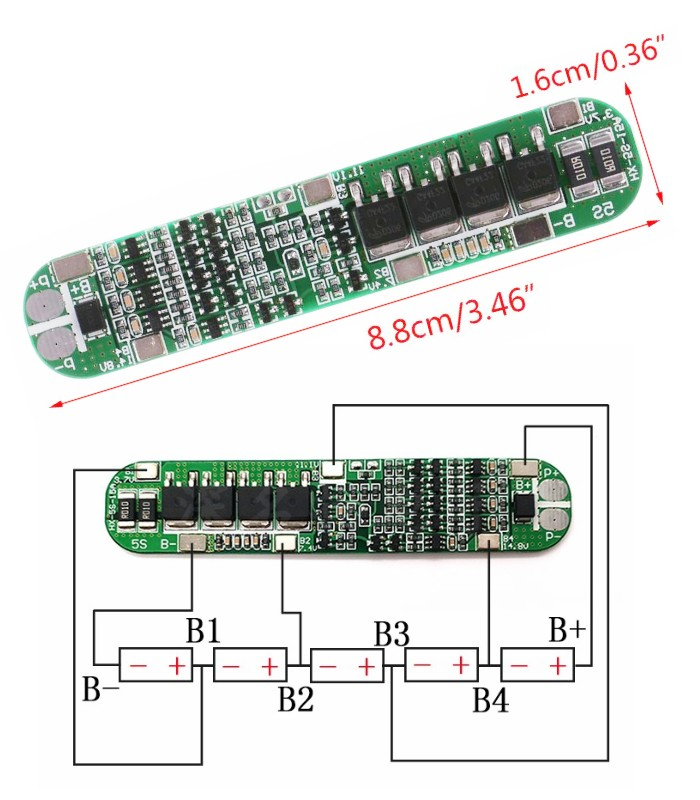 5S 18.5V 15A 18650 BMS Battery Protection Board