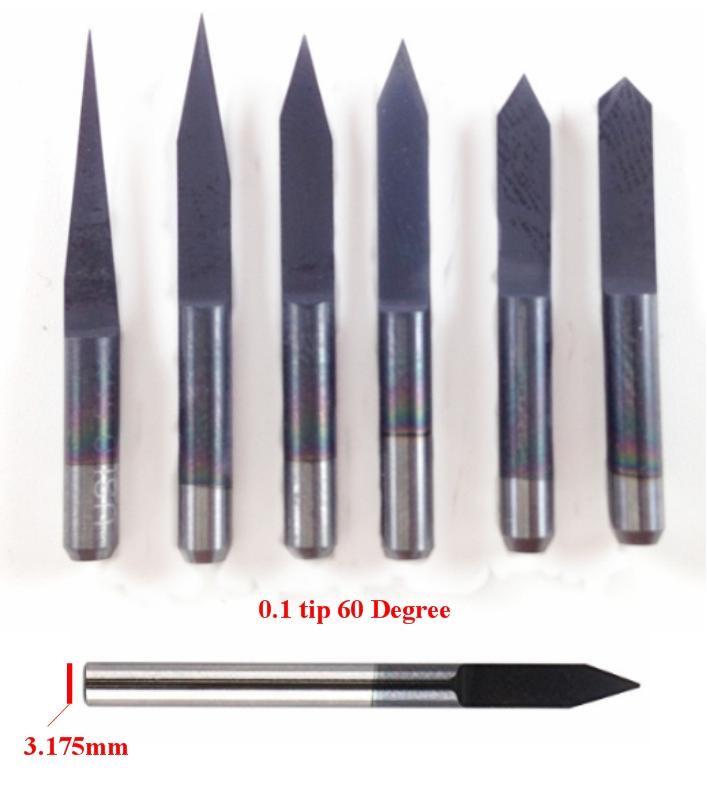 0.1mm 60 degree PCB drill v-shape bit CNC 3.175