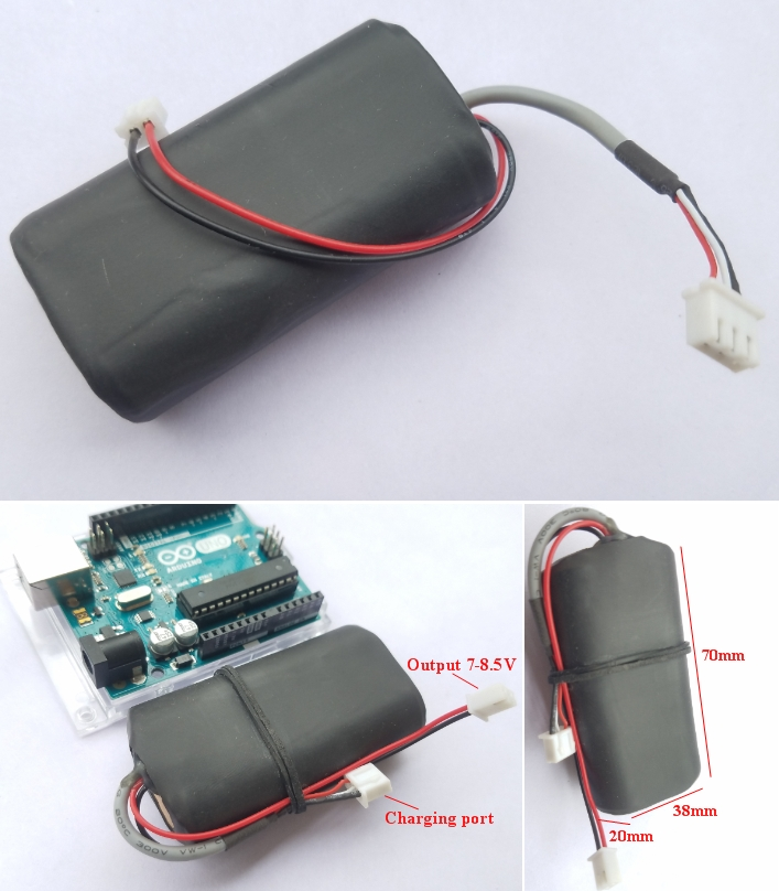 7.4V 2000mAh liion rechargeable battery arduino