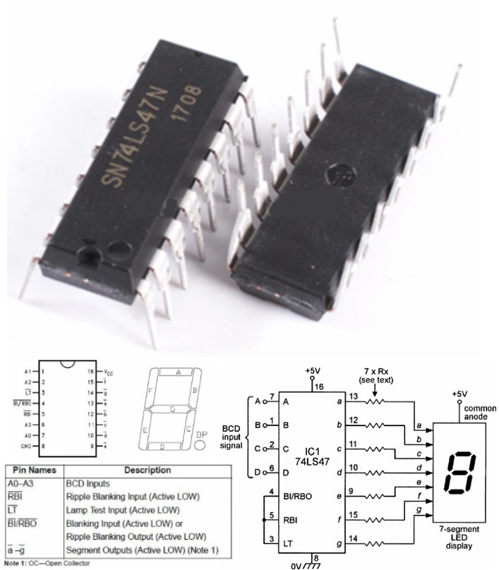 74LS47N BCD To 7 Segment Decoder driver