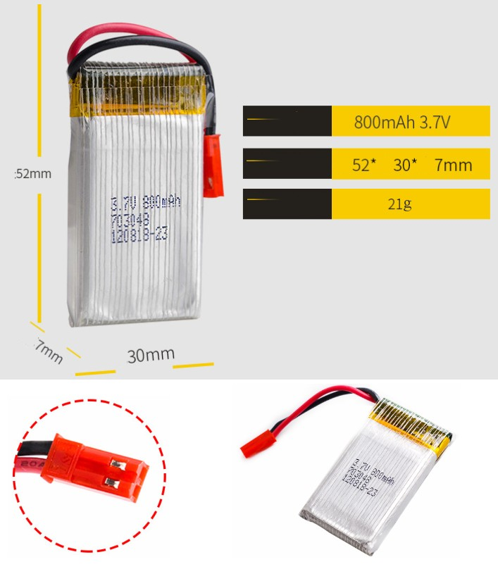 3.7V 800mah 20C 1S lipo battery small drone copter