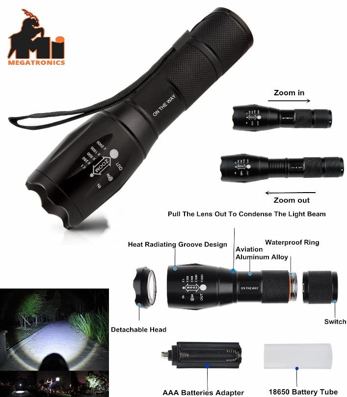 A100 High Power XM-L T6 Led Flashlight Light Torch