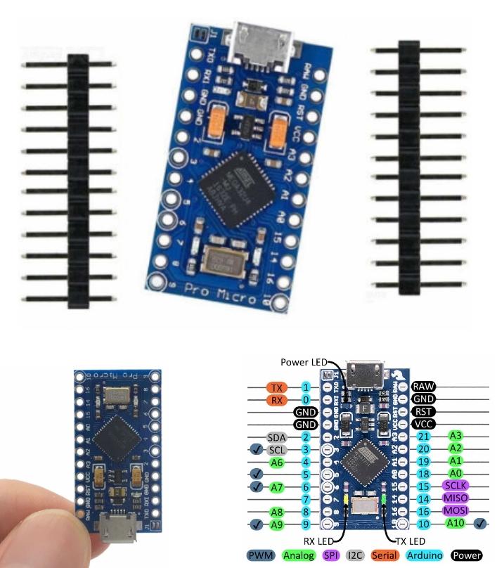 Arduino Pro Micro 5V 16Mhz ATmega32U4 dev board