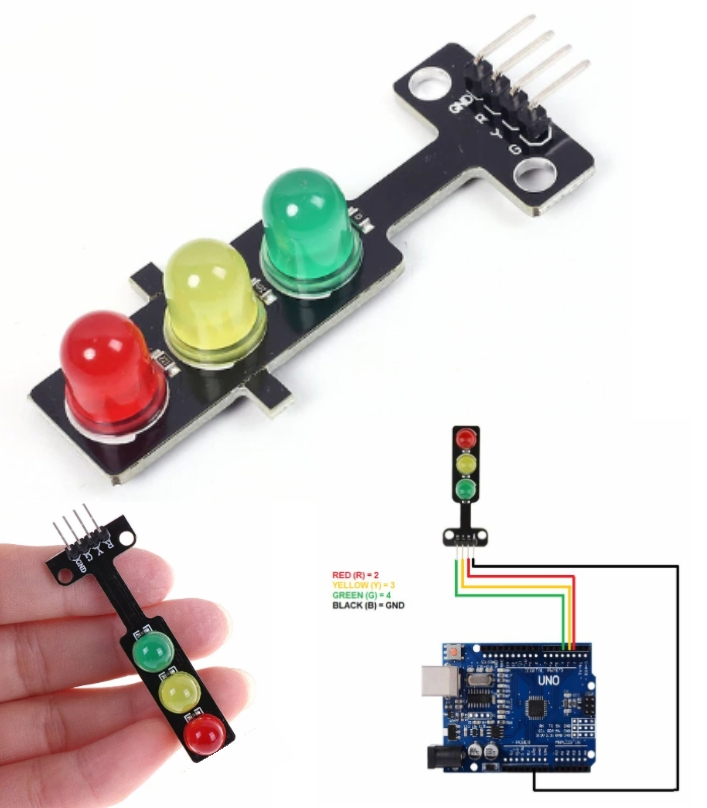 Traffic Light LED Module Arduino Red Yellow Green