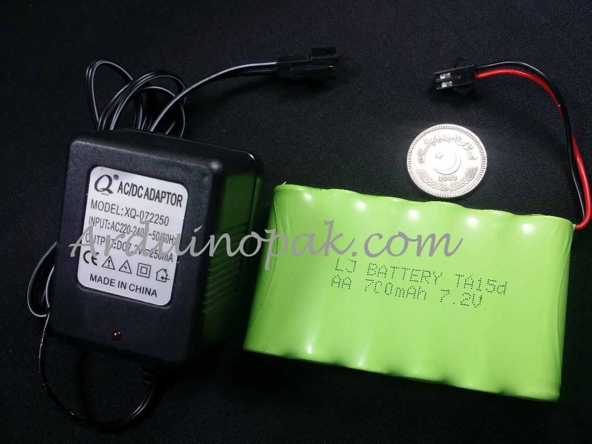7.2V 700mAh rechargeable Ni-Cd battery with charge