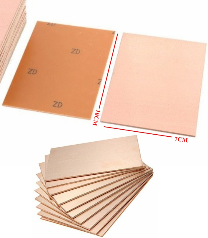 Fr-4 Copper Clad Single Side PCB Laminate 7x10cm B