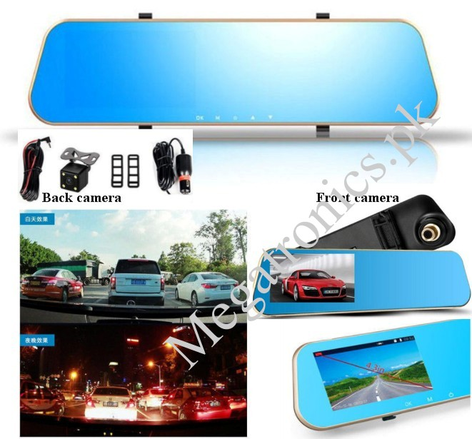 "Car DVR 4.3"" LCD 1080P Dual  camera Rear View Mirr"
