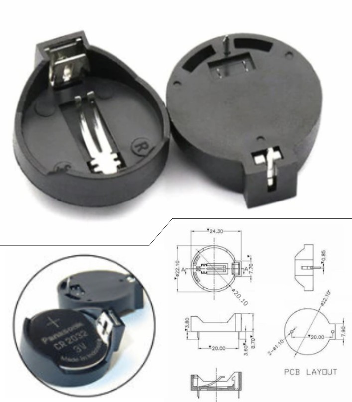 CR2032 CR2025 Button coin cell Battery Holder Box