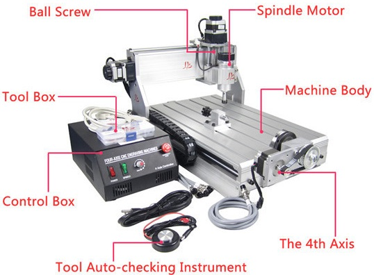 CNC 3040Z-DQ 4 Axis milling engraving router with