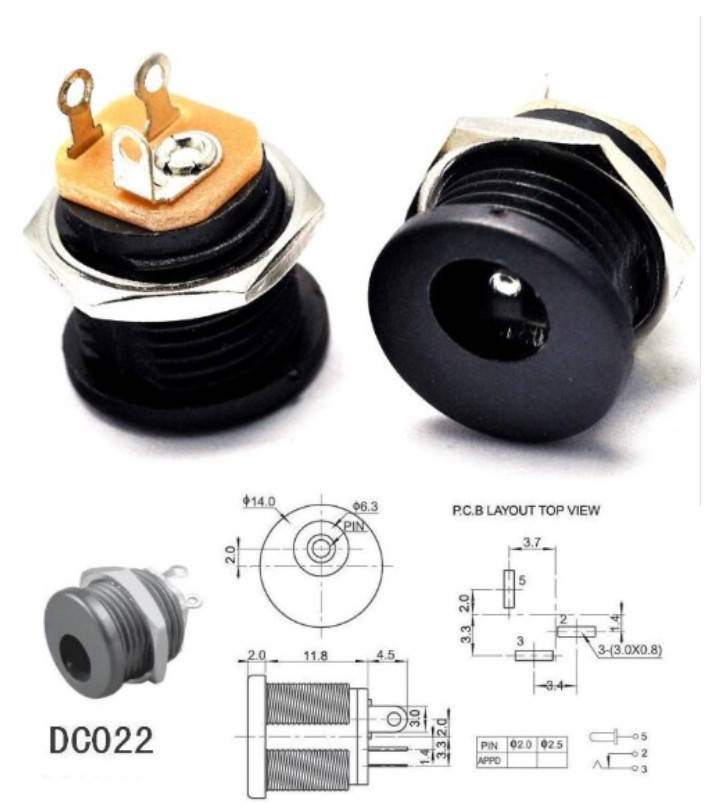 DC-022 DC Power Jack 5.5x2.1mm Socket connector