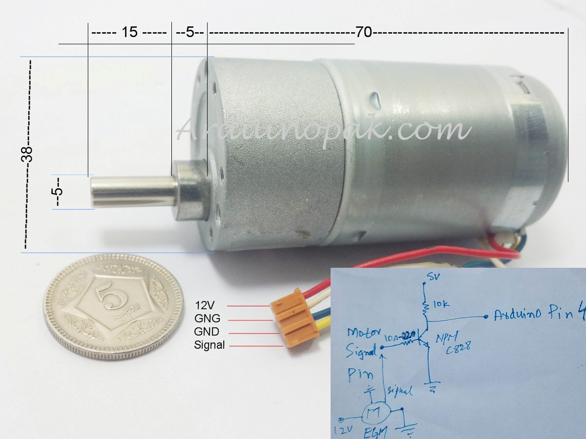 High torque 12V 120RPM Motor with Encoder and Gear