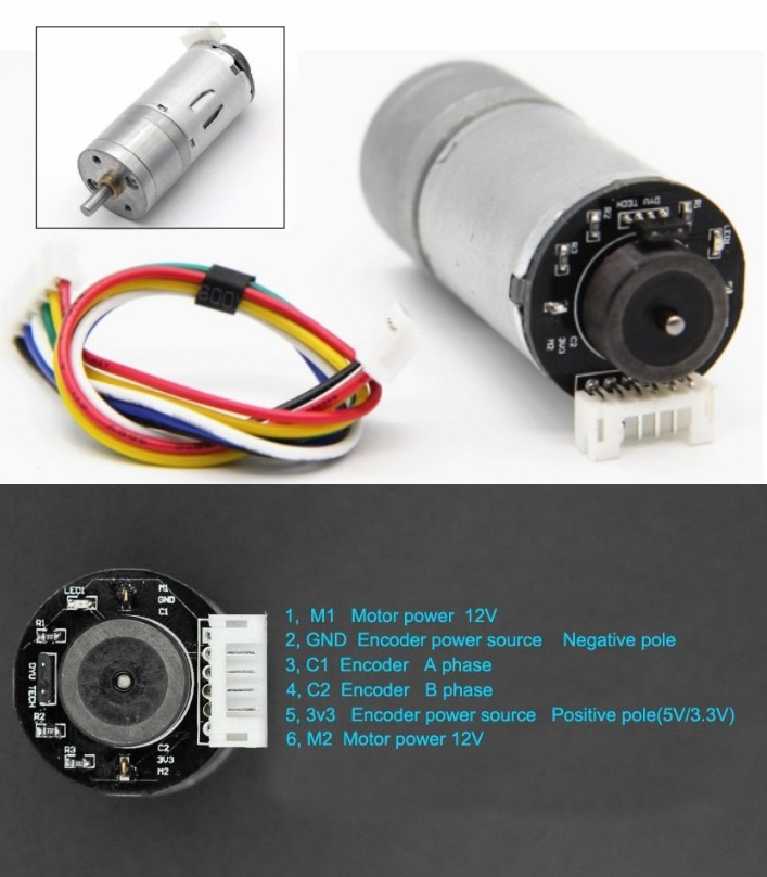 25GA370 DC gear motor with encoder 12V 280RPM high