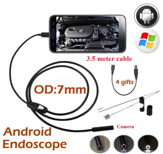 Android Endoscope Camera Waterproof  6LED 7mm Lens