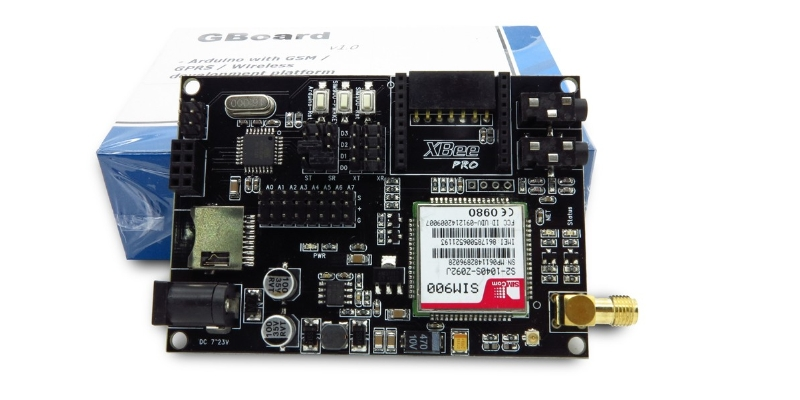 Gboard : SIM900 GSM/GPRS, XBee socket, nRF24L01+ w