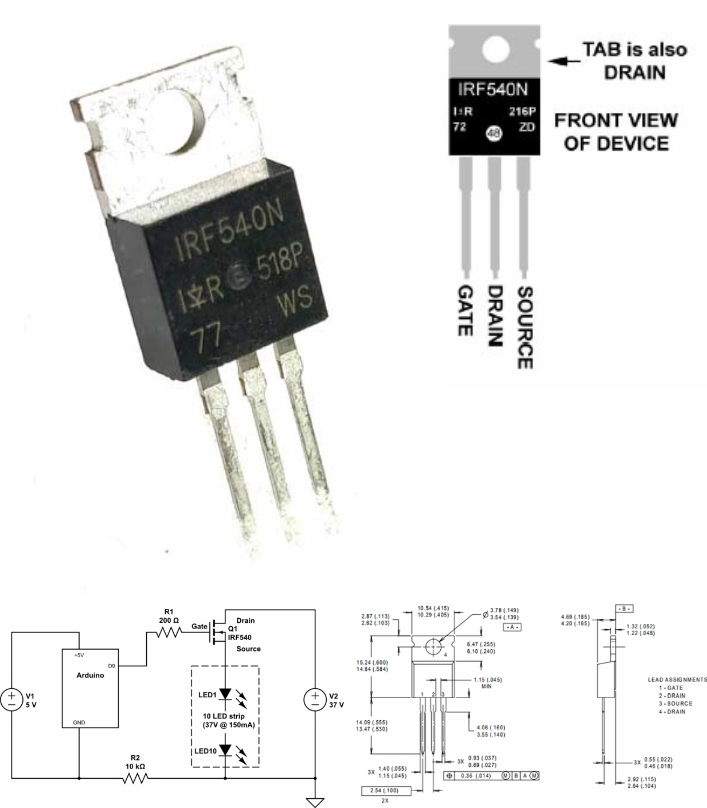 IRF540N transistor MOSFET N-Channel 33A 100V