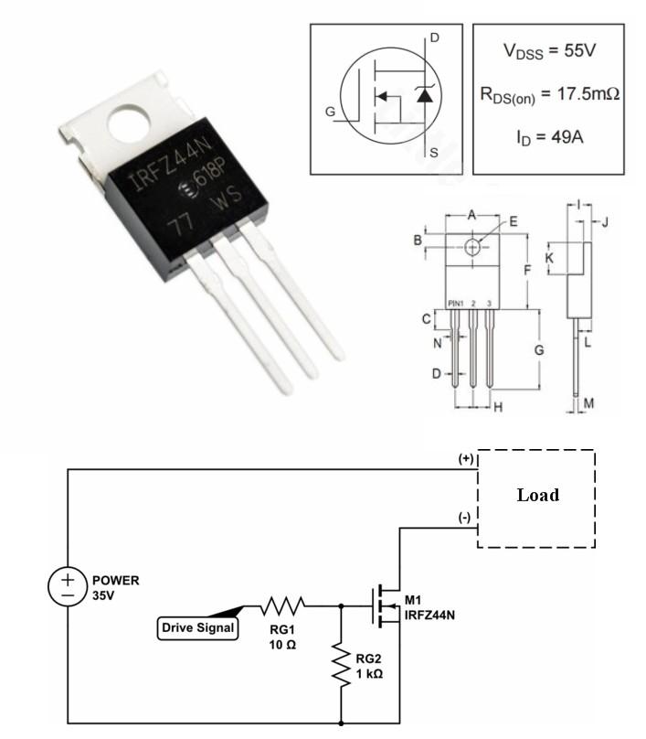 IRFZ44N Transistor N-Channel Rectifier MOSFET Powe