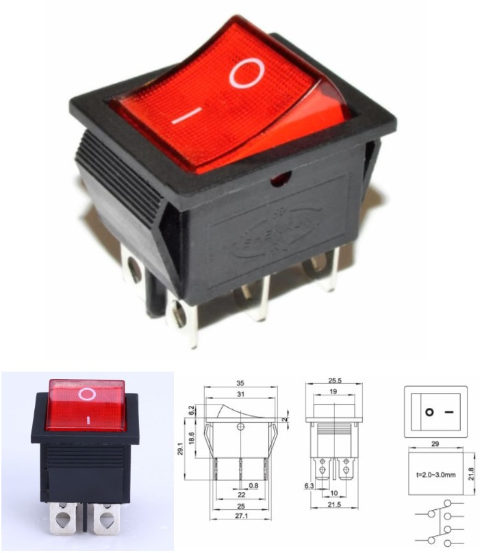 6Pin KCD4-202N ON/OFF Rocker Switch DPDT Red LED