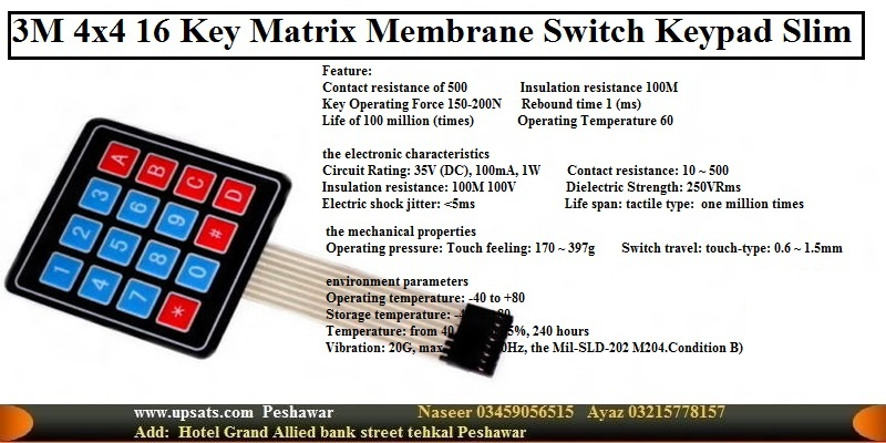 4x4 Matrix 16 Key Membrane Switch Keypad