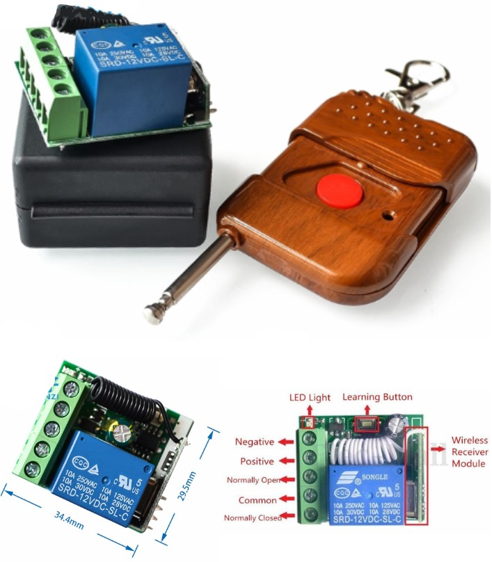 433Mhz Wireless Relay Remote Control Receiver
