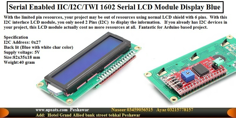 Serial enabled 16x2 LCD IIC/I2C/TWI 1602