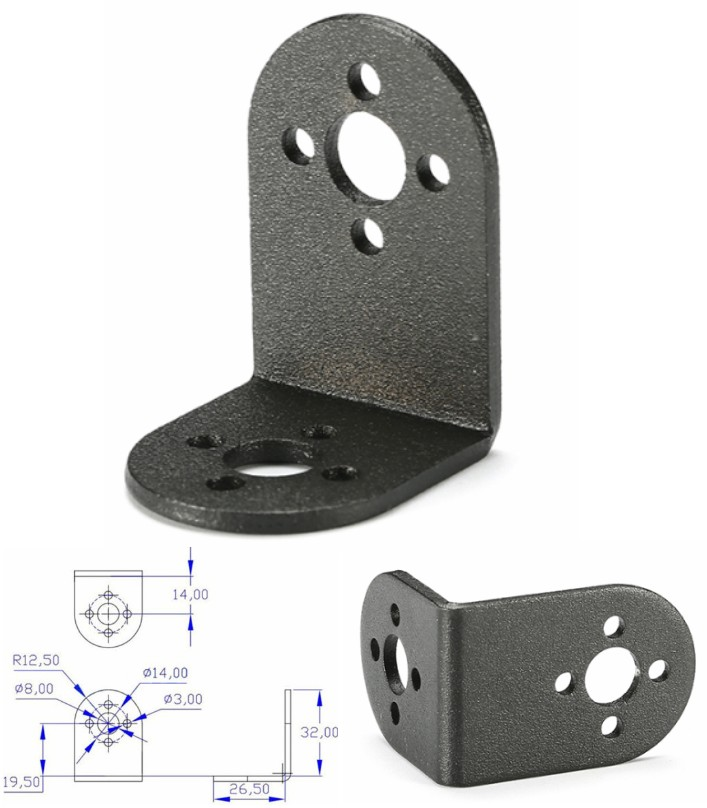 L-SHAPED servo bracket mount PTZ ROBOTIC DIY