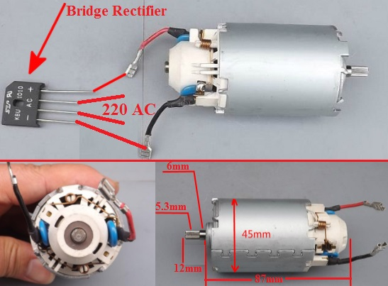 220V AC rectifier DC motor 300W high speed