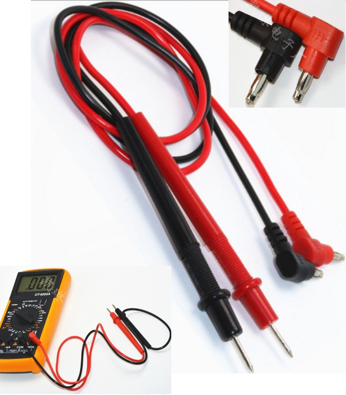 Pair of Multimeter Test Probe Leads Banana Plug Co