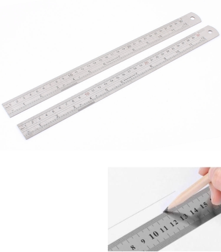 Stainless Steel Ruler 30CM Double Sided Straight M