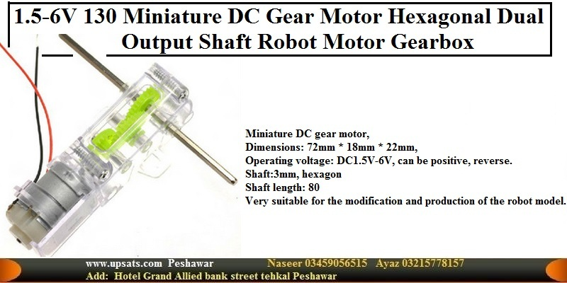 Micro DC Gear Motor Dual output Axis 130 rpm for D