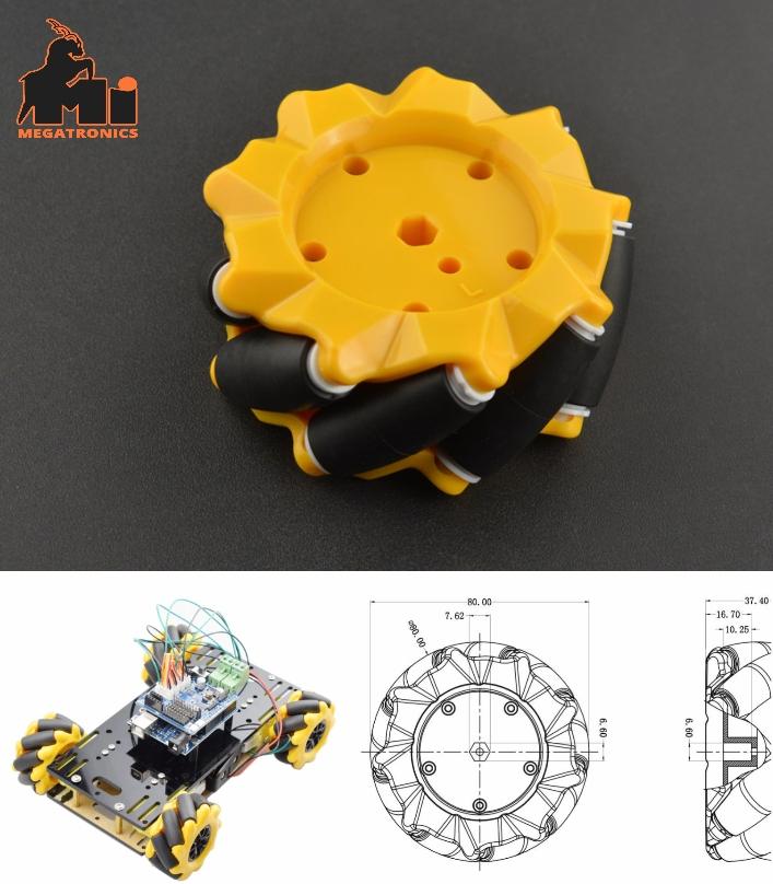 80mm Left Mecanum Omni-directional Wheel ROBOT Sma