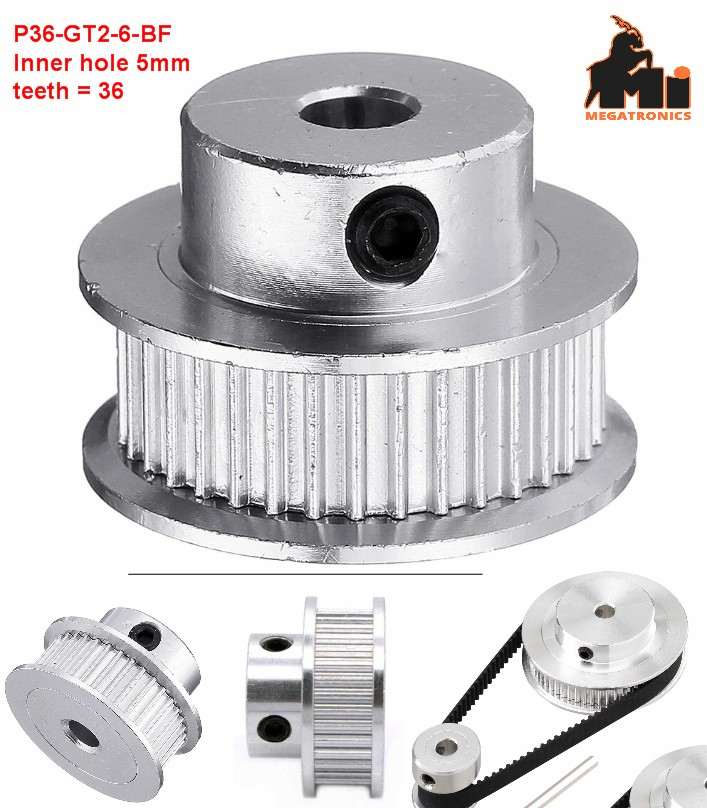 36Teeth 5mm Bore Timing Pulley P36-GT2-6-BF for 6mm GT2 Belt 3D Printer Part