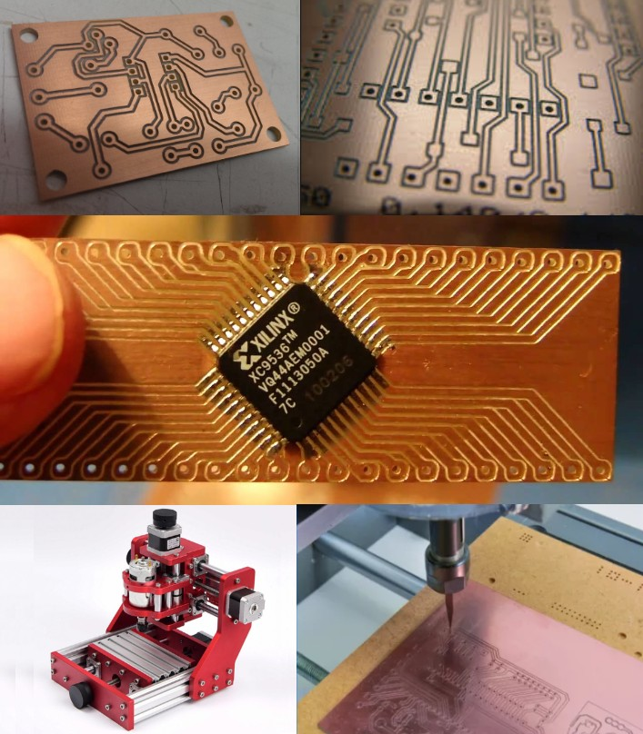 Single side 100x100mm PCB CNC engraved prototyping