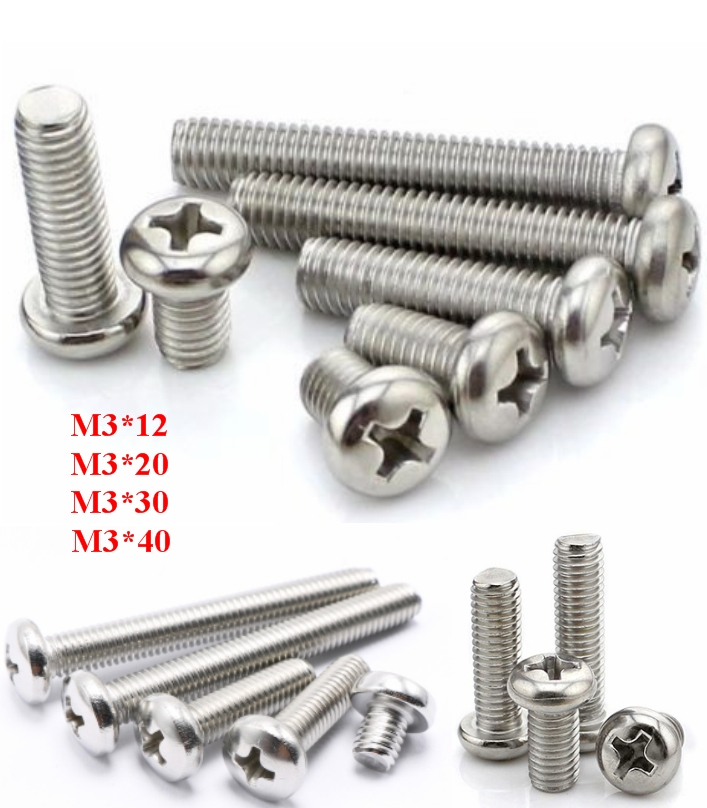 12mm M3 Stainless Steel Phillips Screw 304
