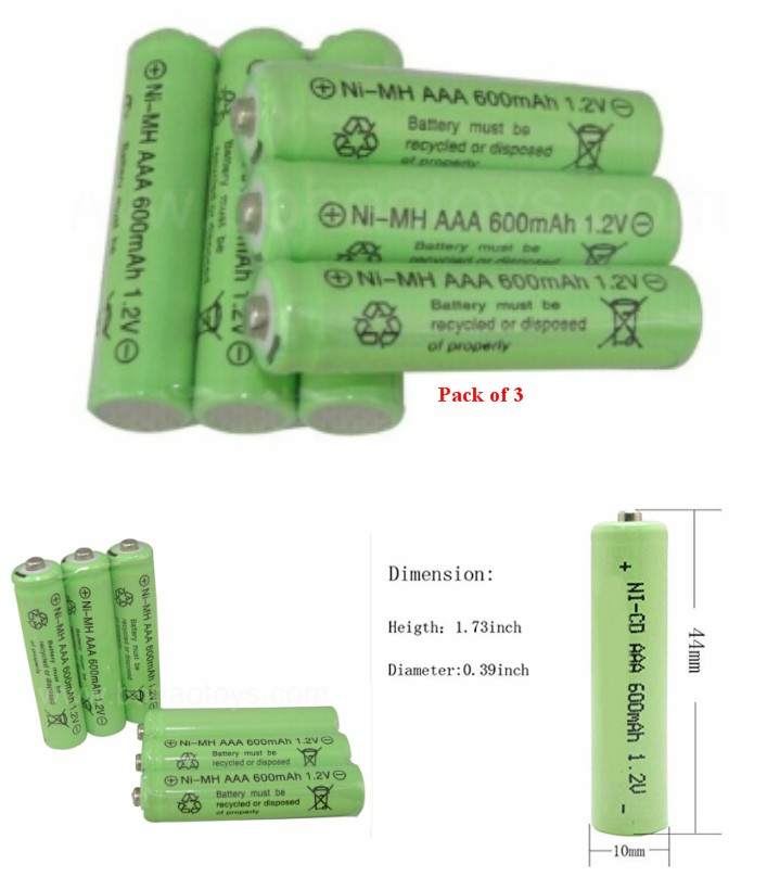 3x AAA NiCd 600mAh 1.2v Rechargeable Battery