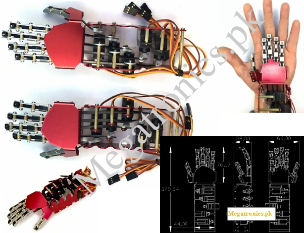 Metal Manipulator Arm Left Hand with Servos for Ro